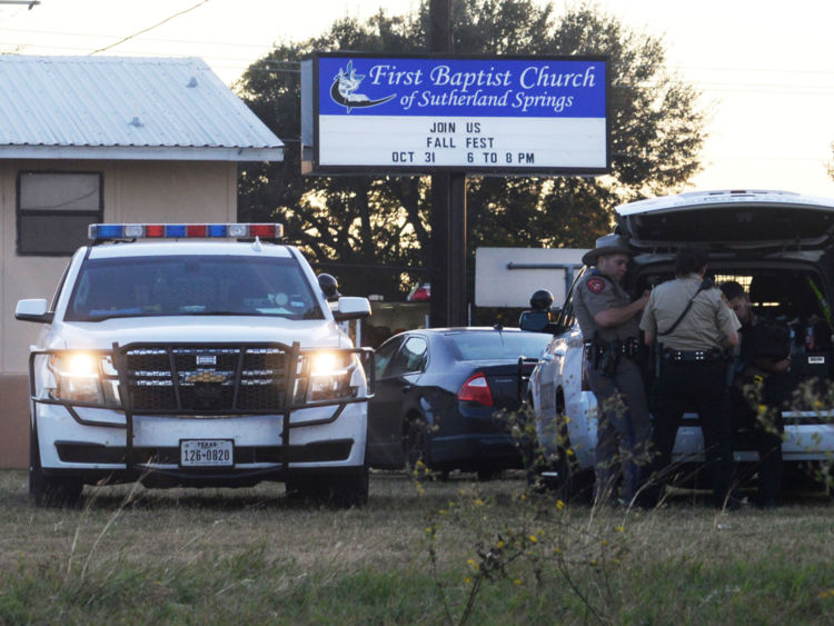 First responders are at the scene of shooting at the First Baptist Church in Sutherland Springs Texas