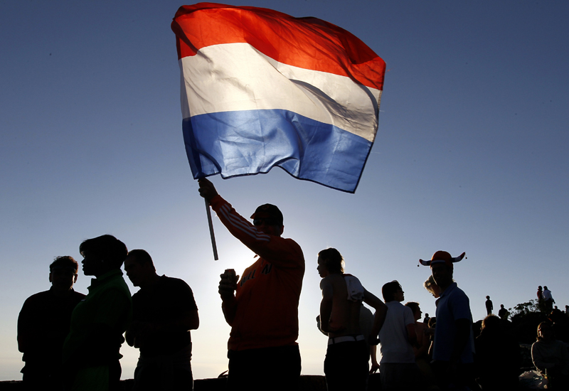 A Netherlands' supporter waves the Dutch